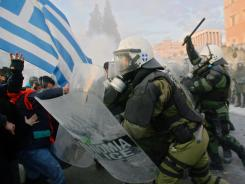 A Feb. 12 riot in Athens over Greek austerity measures.