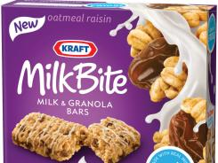 This product photo shows a box of oatmeal raisin Kraft MilkBite, milk and granola bars.