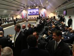 OPEC members attend the 161st meeting of the oil-producing cartel in Vienna, on June 14, 2012.