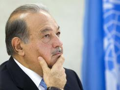 Mexican Carlos Slim Helu in the Human Rights room at the European headquarters of the United Nations in Geneva, Switzerland, on Monday, June 11, 2012.