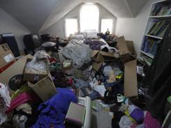 The upstairs bedroom of a Shelbyville, Tenn., home in a 2009 episode of A&E's 'Hoarders.'
