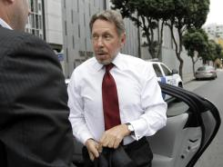 Oracle CEO Larry Ellison arrives April 17 for a federal court appearance in San Francisco involving litigation against Google.