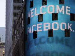 The animated facade of the Nasdaq MarketSite welcomed the Facebook IPO on its first day of trading on May 18, 2012.