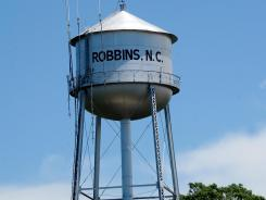 The water tower in Robbins, N.C. on June 26, 2012.