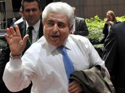 Cypriot President Demetris Christofias arrives for a meeting of European Union leaders in Brussels on June 28, 2012.