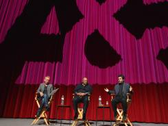 "Moderator Nic Harcourt, composer Quincy Jones and director Joe Berlinger attend a screening of A&E Entertainment's ""Under African Skies"" on June 8, 2012, in Los Angeles."