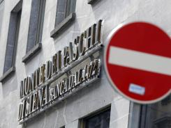 An external view of a Monte Dei Paschi di Siena bank branch in Milan on May 9.