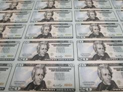 Twenty-dollar bills printed at the Bureau of Engraving and Printing in Washington, D.C.