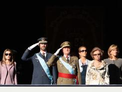 Spain's royal family includes, left to right: Princess Letizia Ortiz, Crown Prince Felipe, King Juan Carlos, Princess Elena, Queen Sofia and Princess Cristina.