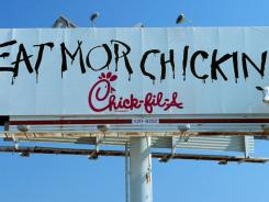 Chick-fil-A cows spread the message to 'Eat Mor Chickin.'
