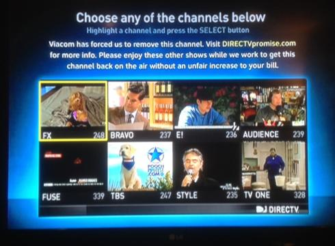DirecTV screen shot shows the spots that Viacom channels such as BET ...