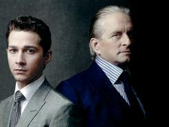 Movie poster for Wall Street -- Money Never Sleeps, with Shia LaBeouf, left, and Michael Douglas.