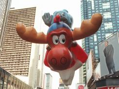Rocky and Bullwinkle soared over Broadway when the Macy's Thanksgiving Day Parade celebrated its 70th birthday in New York, in November 1996.