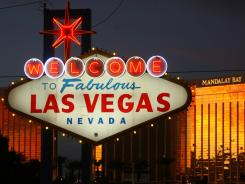 Visitors encounter the 'Welcome to Fabulous Las Vegas' sign as they come up Las Vegas Boulevard.
