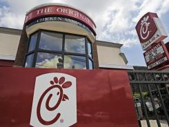 A Chick-fil-A fast food restaurant in Atlanta stands in this July 19, 2012 photo.