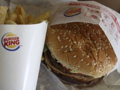 A burger and fries at a Burger King in Richardson, Texas.