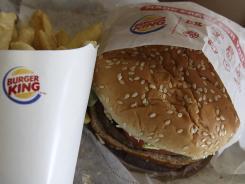A burger and fries at a Burger King in Richardson, Texas.