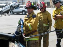At the Rio Hondo Fire Academy in Santa Fe Springs, Calif., firefighters practice using tools that pry open doors, like the Jaws of Life, and powerful tools that cut away door hinges or roof pillars.