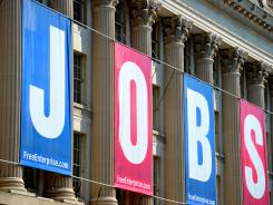 A 'JOBS' sign on the front of the U.S. Chamber of Commerce building in September 2010.
