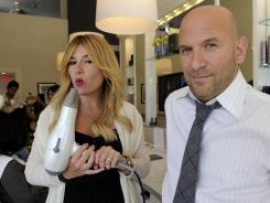 "On the dry side: Alli Webb, co-founder of Drybar, and her brother Michael Landau, co-founder and CEO, in their West Hollywood salon. ""For us, it's been about mobilizing quickly when you realize you have lightning in a bottle,"" Landau says."