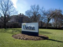 A sign for Aetna insurance in Hartford, Conn, the insurer's headquarters.