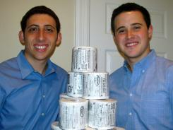 Brothers Jordan and Bryan Silverman, photographed at home in Rye Brook, N.Y. on Wednesday, co-founded Star Toilet Pater company when they developed toilet paper featuring advertisements.
