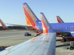 Southwest jets at Baltimore Washington International Airport.
