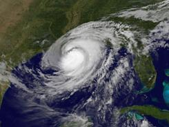 A colorized satellite image shows Hurricane Isaac over the Gulf of Mexico and the Gulf states on Aug. 29, 2012.