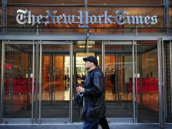 The entrance to The New York Times headquarters in New York City.