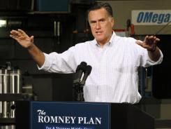 Republican presidential candidate Mitt Romney, former CEO of Bain Capital, campaigning in Elk Grove Village, Ill.