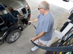 A driver fills up in Harrisonburg, Va.