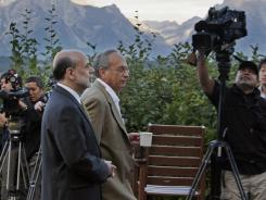 The Fed's Ben Bernanke, left, and Donald Kohn, governor of the Federal Reserve Bank of Dallas, in Jackson Hole, Wyo., in 2010.
