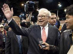 Warren Buffett, CEO of Berkshire Hathaway, at the annual Berkshire Hathaway shareholders meeting in Omaha, Neb.