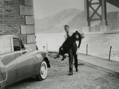 "Kim Novak and James Stewart in a scene from ""Vertigo."""