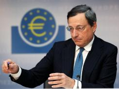 President of European Central Bank Mario Draghi addresses the media at a news conference in Frankfurt, Germany, Aug. 2, 2012.