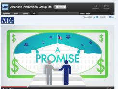 Photo of a YouTube.com video posted in July 2012 by the American International Group insurance company about its pride to be a U.S. corporation.
