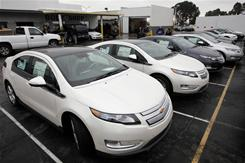 A row of 2011 Chevrolet Volt vehicles are shown Dec. 17, 2010, at a Chevrolet dealership in Los Angeles.