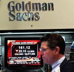 The Goldman Sachs booth on the floor of the New York Stock Exchange in April 2010.