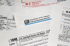 This file photo shows Internal Revenue Service (IRS) tax forms.