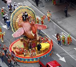 The Tom Turkey float at Macy's Thanksgiving Day parade in New York City in 2010.