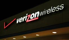 A Verizon Wireless sign in Manassas, Va.
