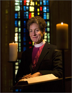 Episcopal Presiding Bishop Katharine Jefferts Schori at the chapel inthe Episcopal Church Center in New York.