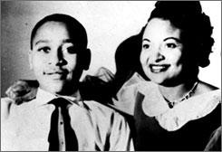 "Mamie Till Mobley and her son, Emmett Till, who was lynched in 1955. A grand jury recently decided not to return an indictment in the case following an exhaustive three-year federal investigation. To many, the 14-year-old is the ""sacrificial lamb"" of the civil rights movement."