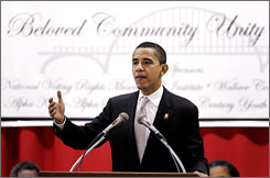 Sen. Barack Obama, D-Ill., spoke Sunday morning at the Martin and Coretta King Beloved Community Unity Breakfast, in Selma, Ala.