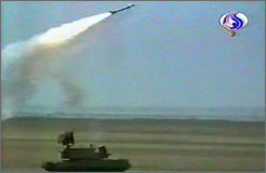 An image grab taken from Iran's Al-Alam TV shows the nation's elite Revolutionary Guards firing a new Russian-made air defense missile system at an unidentified location in Iran on February 7. The January delivery of the new TOR-M1 system to Iran sparked bitter US criticism.