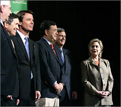 Democratic candidates, from left, Mike Gravel, Dennis Kucinich, John Edwards, Bill Richardson, Tom Vilsack and Hillary Clinton during a forum in Nevada in February. Vilsack has since dropped out of the race.