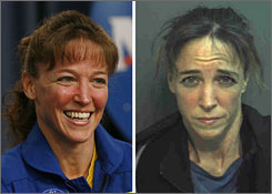 This combination picture shows NASA astronaut Lisa Nowak after the landing of the space shuttle Discovery on July 17, left, and following her arrest in Orlando, Feb. 5, right.