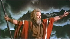 Charlton Heston plays Moses in a scene from the motion picture The Ten Commandments, which re-enacts the parting of the Red Sea.