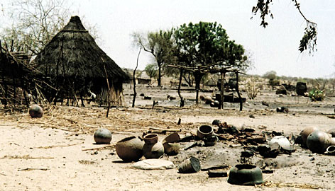 This photo, taken in April 2004, shows the village of Terbeba after pro-Sudanese government janjaweed militias passed through the western Darfur region of Sudan.