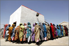 This photo, taken last month, shows displaced Sudanese women waiting to see a doctor at the Turkish Red Crescent Hospital in the Darfur city of Nyala.